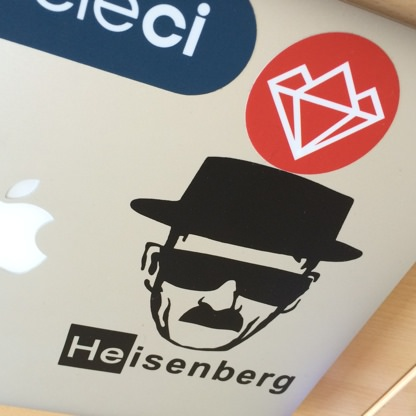 Slovenia RUG sticker on a laptop with Heisenberg